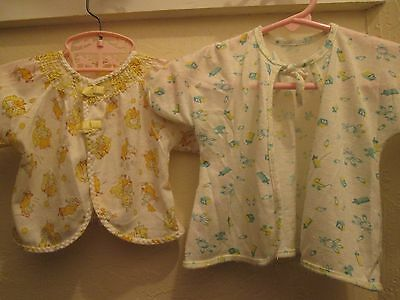 Lot of 2 Vintage 50s Hospital Robes NB 0-3m Baby Boy Girl Doll Receiving