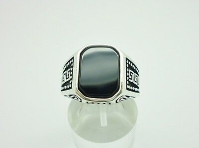 Superb Antique Style Sterling Silver & Onyx Chunky Ornate Mens Ring Size X