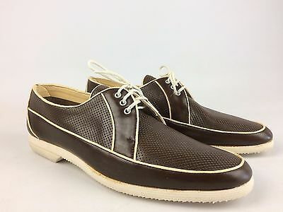 Vintage JOHNSTON & MURPHY Mens Size 9.5 N Brown Leather Oxford Boat Shoes Italy