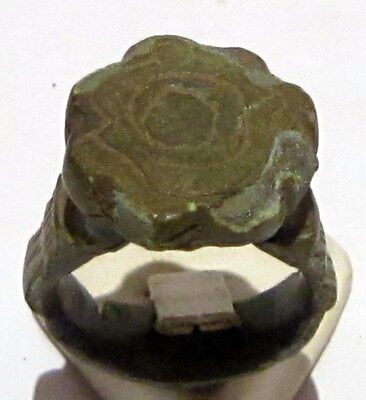 Beautiful Post-Medieval Bronze Ring With Engraving On The Top # 86A
