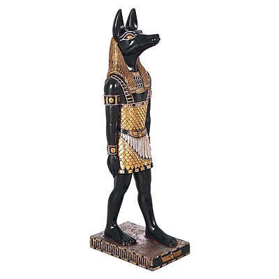 "Ancient Egyptian Jackal God Anubis Magnificent Hand Painted 30"" Home Statue"