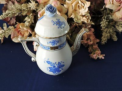 """Herend Hungary Blue Rose 6.5"""" Mini Coffee Tea Pot Pitcher Numbered With Flower B"""
