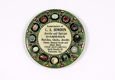 Antique Celluloid C.A. Bowron Plainview TX Advertising Mirror Birthstone