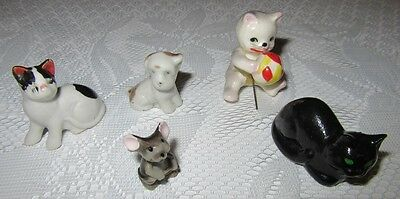 Vintage Ceramic Lot of 5 Cat Mouse & Dog Figurines Made In Japan