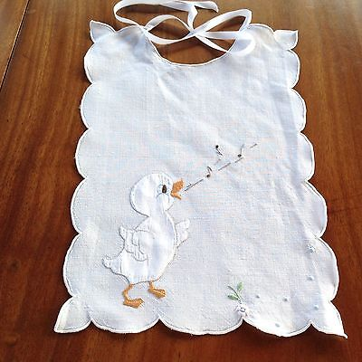 "Pretty Vintage Hand Embroidered Appliqué White Linen Babys Bib "" Singing Duck """