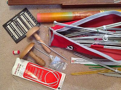 Very Large Vintage Lot Of Knitting Needles / Cases & Bits & Pieces