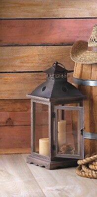 """2 Large Monticello Candle Lanterns - 18 1/2"""" High - Wood - Pine Glass Iron - Bro"""