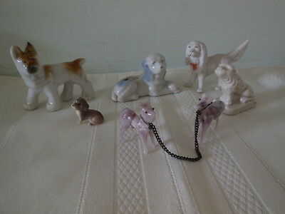 Vintage Lot of Small Dog Figurines, Variety - Ceramic, Bisque, Glass Greyhounds
