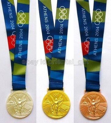 Athens 2004 Olympic Gold/Silver/Bronze Medals with Ribbons Collectible Souvenir