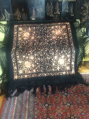 Selling my own collection - 1920's HEAVY EMBROIDERED PIANO SHAWL - 58x57