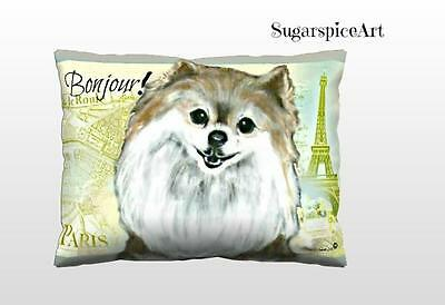 Pomeranian Paris French Decor Pillow Dog Art by SugarspiceArt