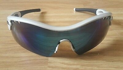 Oakley Radar - sunglasses white pearlescent frames and green/blue lenses