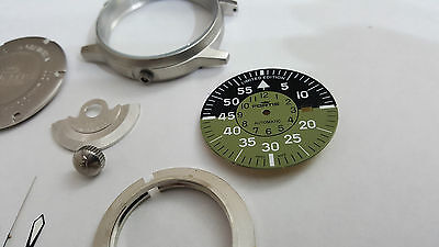Fortis Flieger Complete Gents Watch Case Set,with Cockpit Green Dial