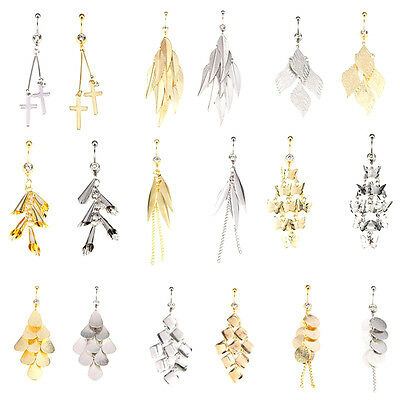 Silver Gold Navel Belly Ring Rhinestone Button Bar Barbell Body Piercing Jewelry