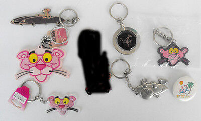 PINK PANTHER lot of 6 keychain 1 button must have L@@K