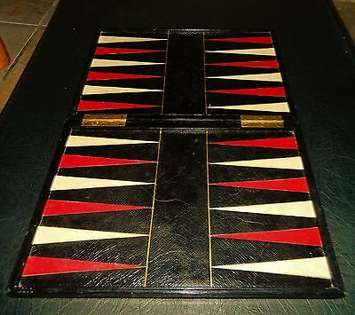 Fine Quality Victorian Backgammon / Chess Folding Inlaid Leather Covered Board