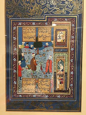 Original Vintage Persian Painting Islamic Artwork Antique Court Scene