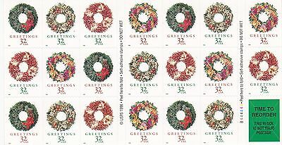 U.S. BKLT PANE OF 20 SCOTT#3252c 1998 32ct CHRISTMAS WREATHS MINT VARIOUS P#'s