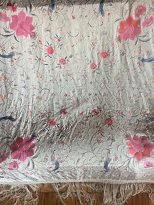Very sweet lightweight antique Chinese Hand Embroidered Piano Shawl