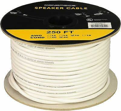 Monoprice 104042 250-Feet 16AWG CL2 Rated 4-Conductor Loud Speaker Cable (NEW)