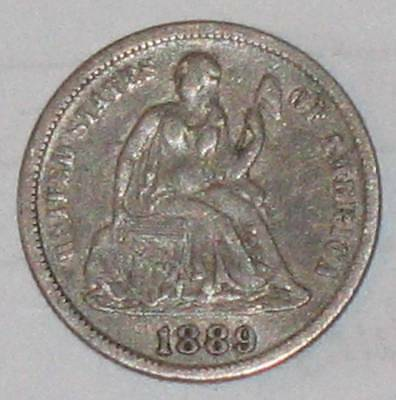 1889 Silver U.s. Seated Liberty Dime Coin Au Condition