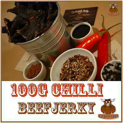 BEEF JERKY CHILLI 100G Hi PROTEIN LOW CARBOHYDRATE DIET PRESERVATIVE FREE SNACK