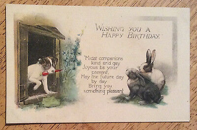 Vintage Greeting Postcard - Wishing You a Happy Birthday  - Puppy & Rabbits