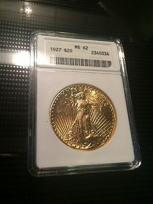 1927 $20 Dollar St. Gaudens Double Eagle Gold Coin ANACS MS-62