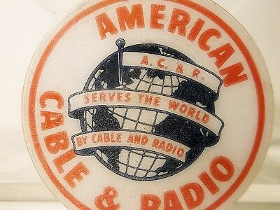 SUPER RARE - American Cable & Radio Serves the World by Cable & Radio ITT Pin
