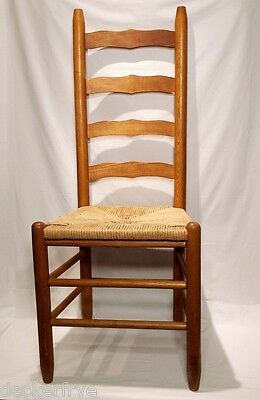 Post 1950 Brown American French Country LADDER BCK CHAIR Honey Oak Rush Seat