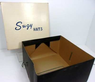 Post WWII Early 1960s SUZY HATS Hat Box Black & White Cardboard with String Ties