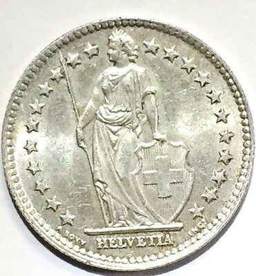 1955 Swiss Silver  2 Francs, , 83.5 % Silver