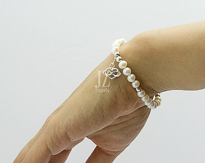 Freshwater Cultured Pearl Bracelet with Sterling Silver Infinity Heart Charm