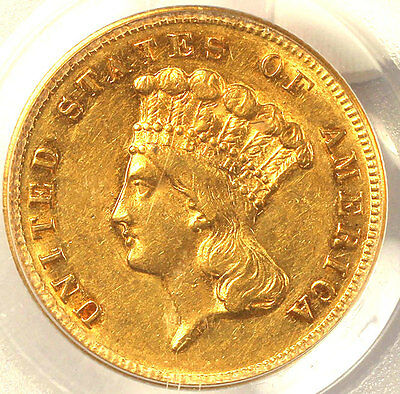 1868 $3 Au55 Pcgs-Cac-Only 143 In Higher Grade