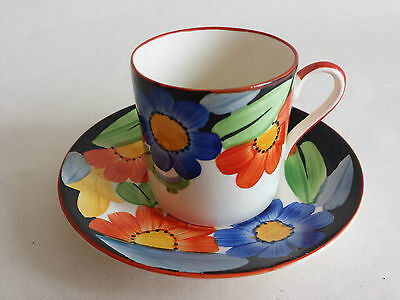 Rare Art Deco Grays Susie Cooper style Coffee Can and Saucer hand painted 7913