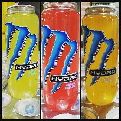 Monster Energy Drink Hydro Clear Cans Set Of Three. One Of Each Kind