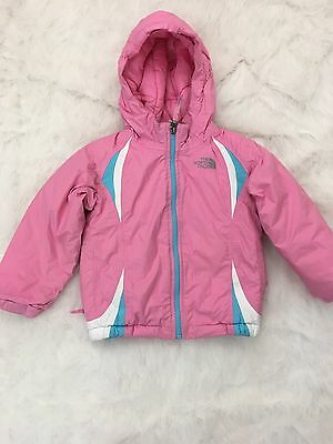 The North Face 3T Toddler Girls Pink Thick Jacket Coat Full Zipper w Hood Hooded