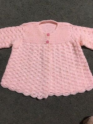 Baby Girls Gorgeous Pink Hand Knitted Long Sleeved Pink Cardigan Size 00-0  EUC