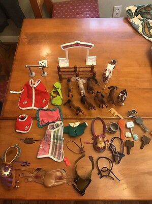 Lot Vintage Plastic Horses Little Mattel Toys Saddle Accessories  42 Pieces Toys