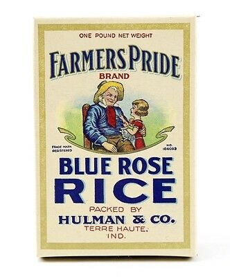 Vintage FARMERS PRIDE Blue Rose Rice Advertising Box Terre Haute Indiana Old