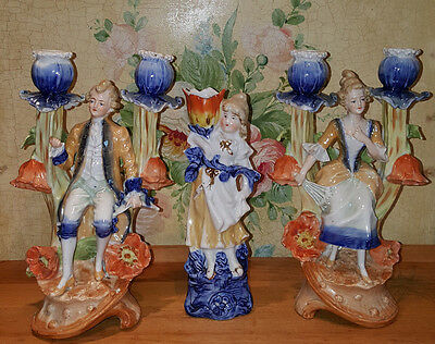 Art Nouveau Era continental figural candlesticks and spill vase Shabby Chic