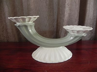 Spode Fortuna White Green Double Candle Holder