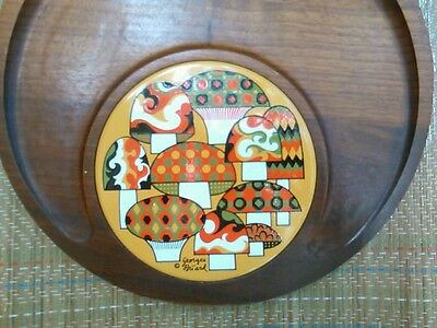 REDUCED!! GEORGES BRIARD  *MERRY MUSHROOM* Circular Wood/Art Pottery Tile Tray
