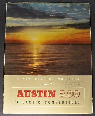 1949-1950 Austin A90 Atlantic Convertible Sales Brochure Folder Nice Original