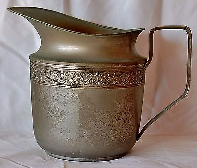 "Vintage Grecian Style Design Silver Plated Brass Pitcher Jug Makers Mark ""SEB"""