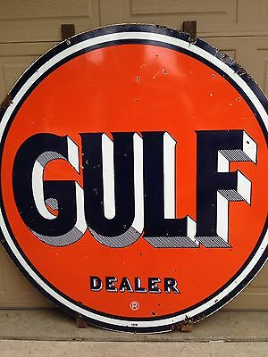 """Antique Original 1951 Double Sided Porcelain Gulf Sign (66"""")"""