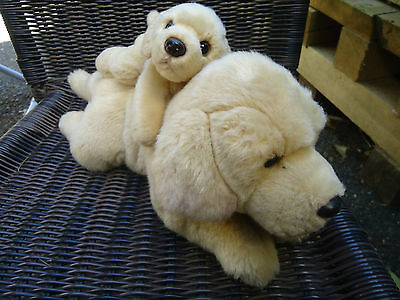 "RUSS Yomiko Classics Mommy &  Puppy Yellow Labrador Dog 15"" Stuffed Plush"