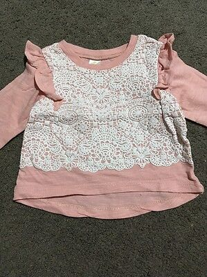 Baby Girls Pink Long Sleeved Top Size 000 EUC
