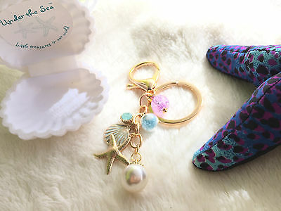 """Under the Sea - """" The Keyring """" Sparkling Ocean charms Blue sand crystal ball"""
