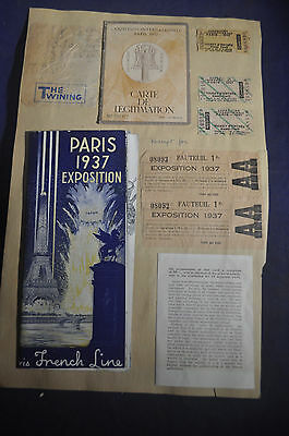 1937 Paris Exposition Brochure, Tickets, Postcards & Carte de Legitimation